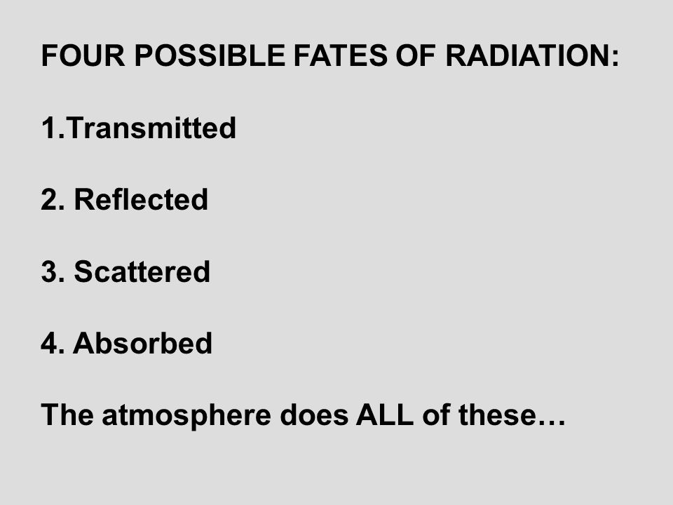 FOUR POSSIBLE FATES OF RADIATION: