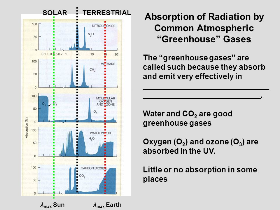 Absorption of Radiation by Common Atmospheric Greenhouse Gases
