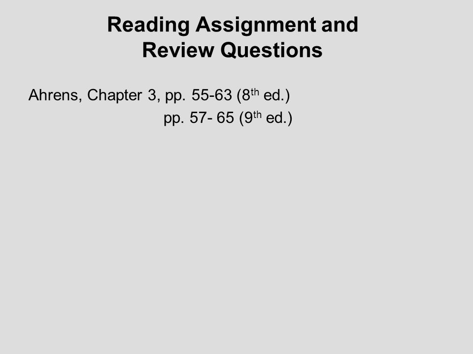 Reading Assignment and Review Questions