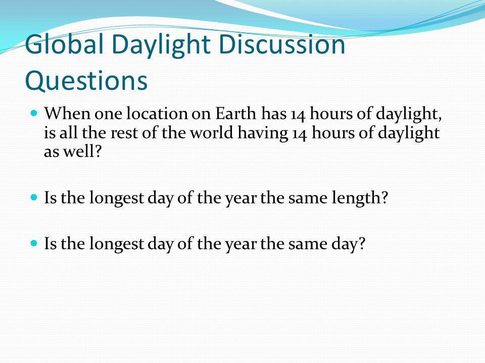 Global Daylight Discussion Questions