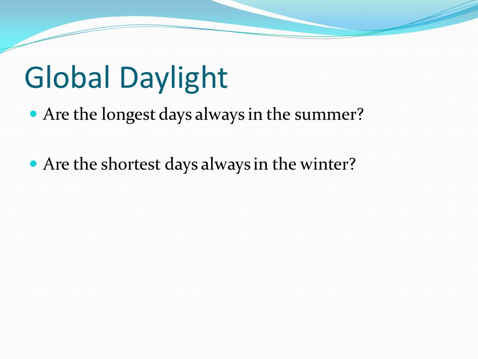 Global Daylight Are the longest days always in the summer