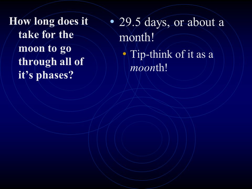 How long does it take for the moon to go through all of it's phases
