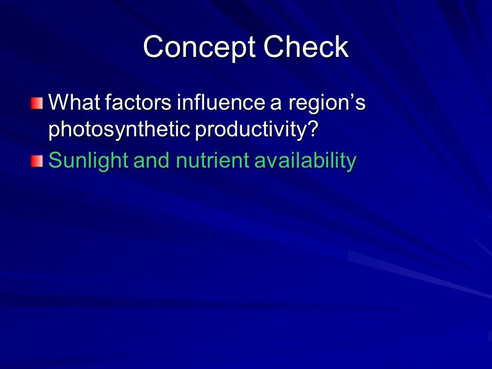 Concept Check What factors influence a region's photosynthetic productivity.