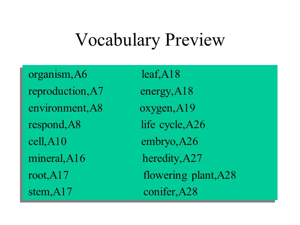 Vocabulary Preview organism,A6 leaf,A18 reproduction,A7 energy,A18