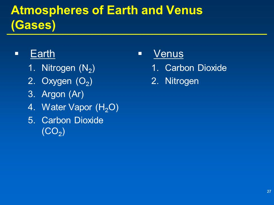 Atmospheres of Earth and Venus (Gases)