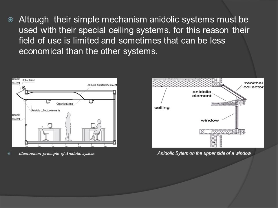 Altough their simple mechanism anidolic systems must be used with their special ceiling systems, for this reason their field of use is limited and sometimes that can be less economical than the other systems.