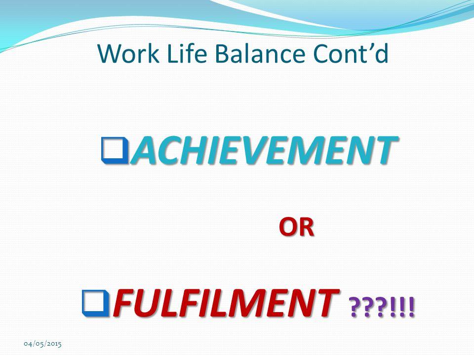 Work Life Balance Cont'd