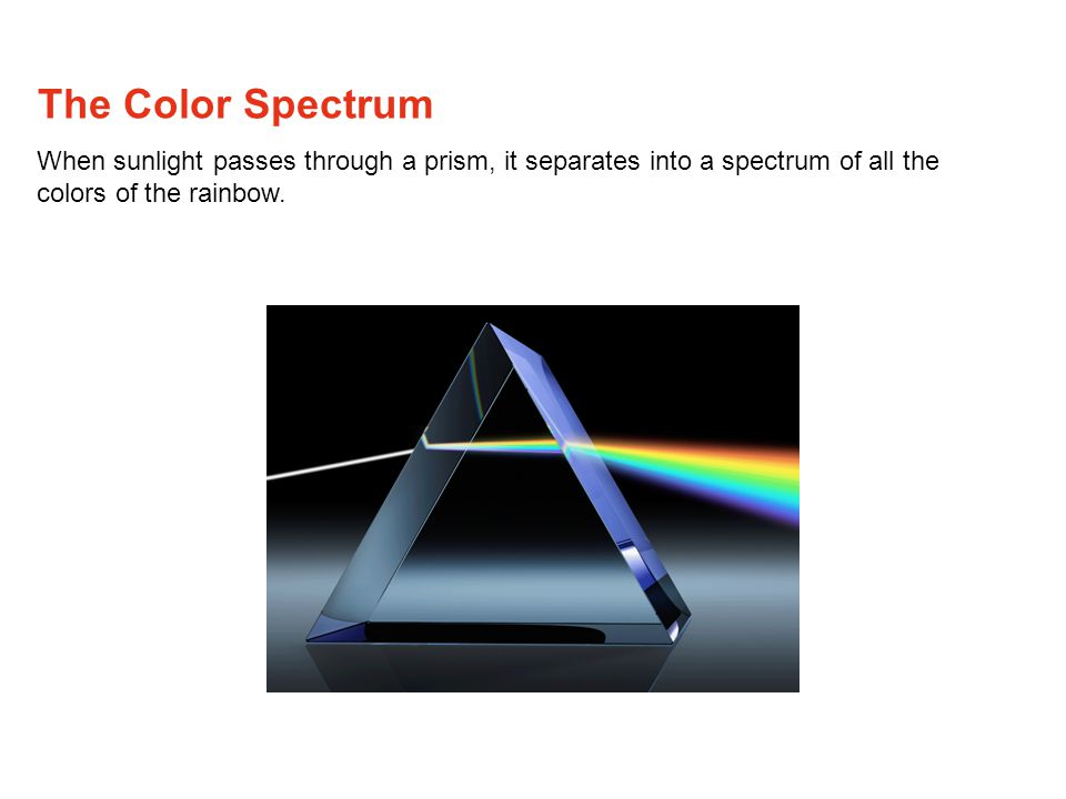 The Color Spectrum When sunlight passes through a prism, it separates into a spectrum of all the colors of the rainbow.
