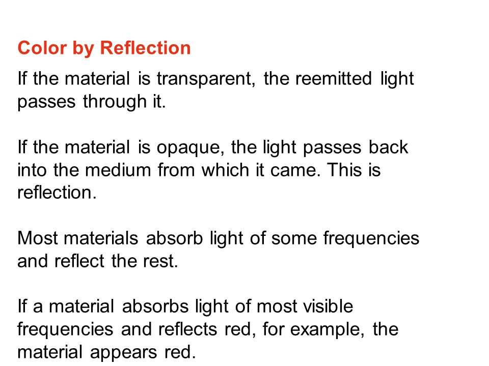 Color by Reflection If the material is transparent, the reemitted light passes through it.