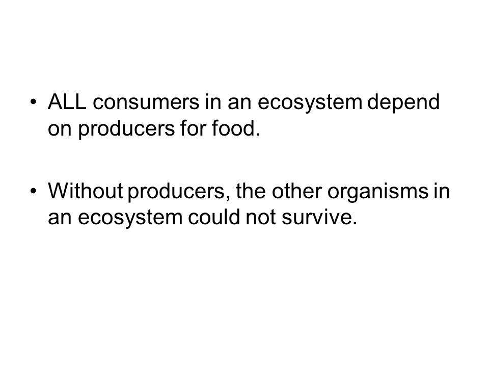 ALL consumers in an ecosystem depend on producers for food.