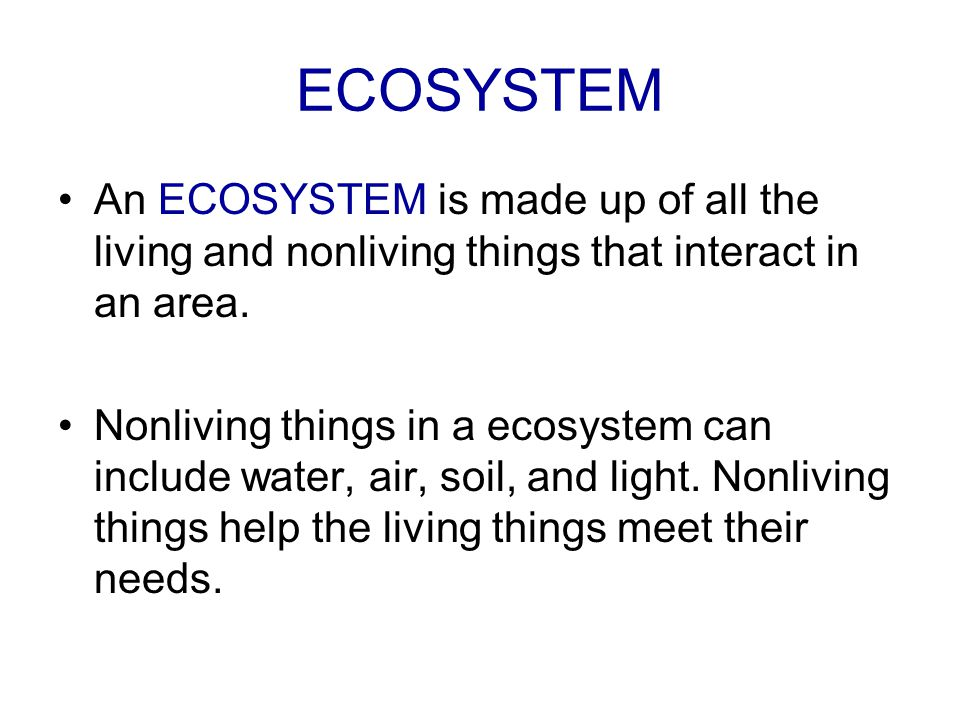 ECOSYSTEM An ECOSYSTEM is made up of all the living and nonliving things that interact in an area.