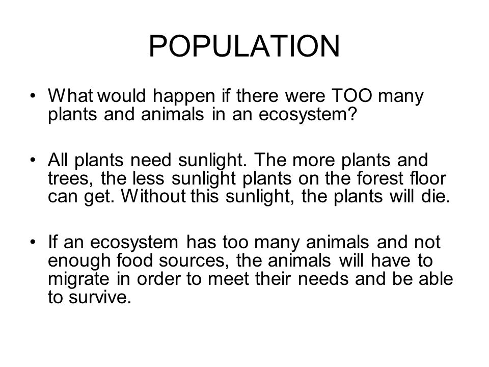 POPULATION What would happen if there were TOO many plants and animals in an ecosystem
