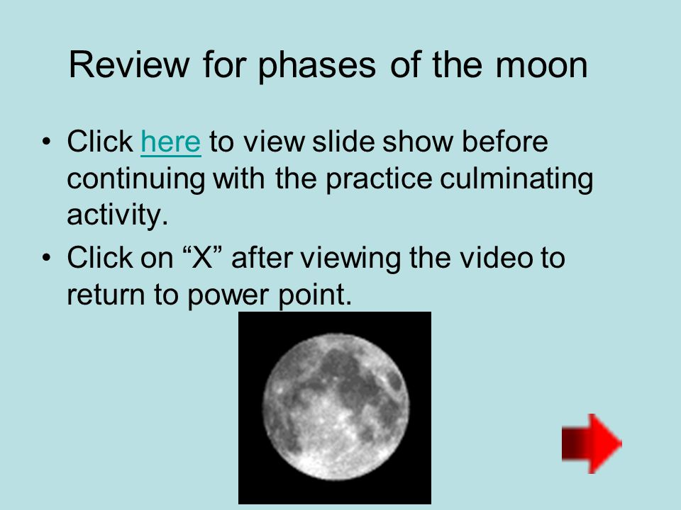 Review for phases of the moon