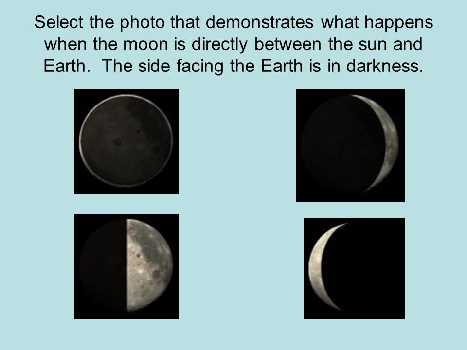 Select the photo that demonstrates what happens when the moon is directly between the sun and Earth.