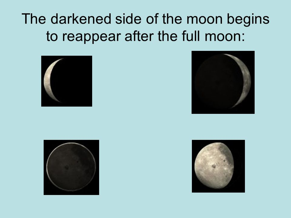 The darkened side of the moon begins to reappear after the full moon: