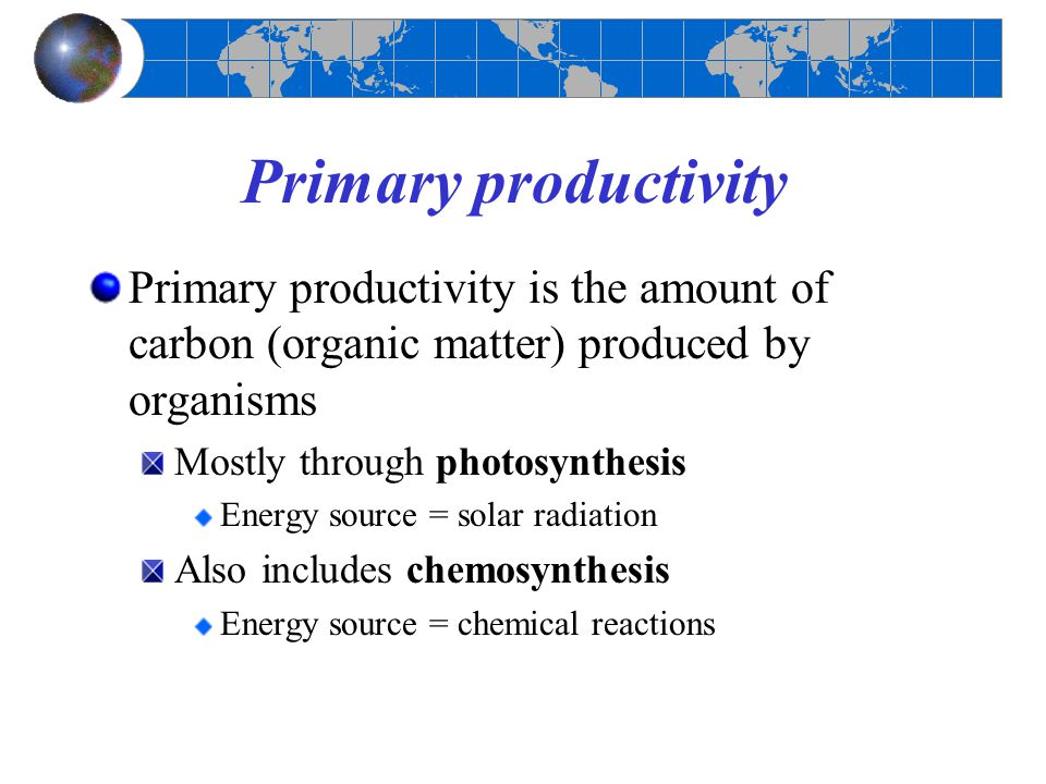Primary productivity Primary productivity is the amount of carbon (organic matter) produced by organisms.
