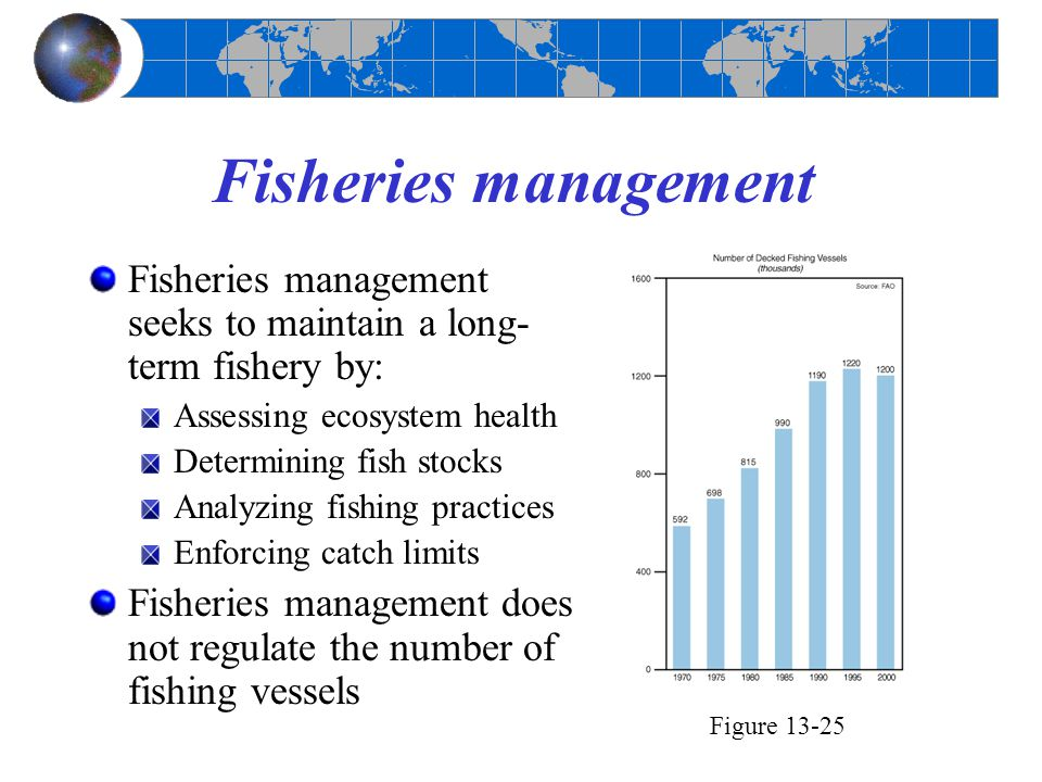 Fisheries management Fisheries management seeks to maintain a long-term fishery by: Assessing ecosystem health.