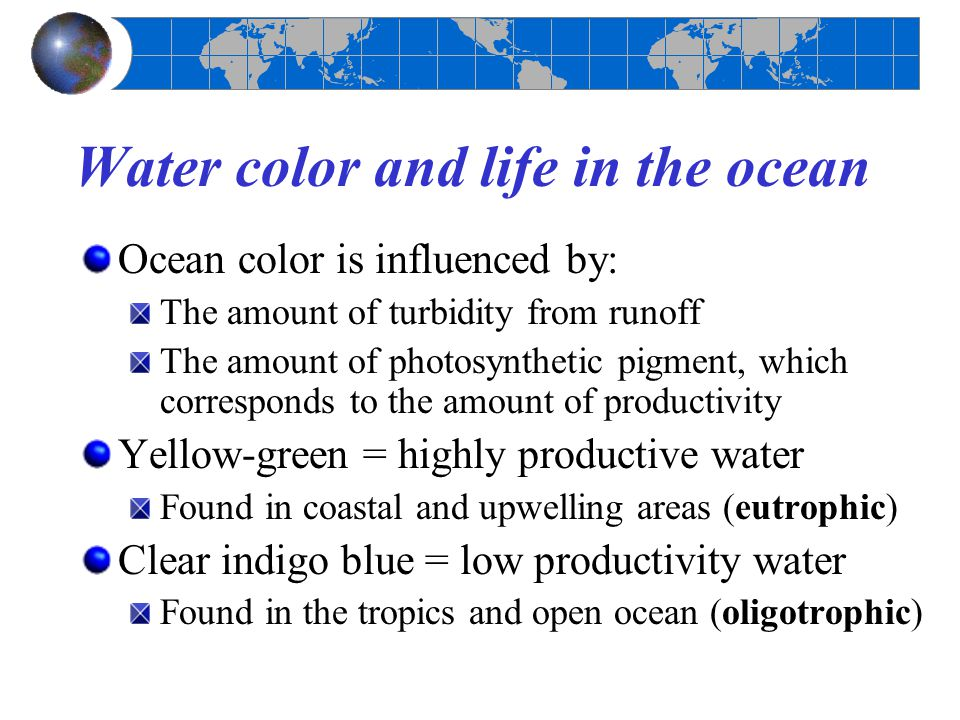 Water color and life in the ocean