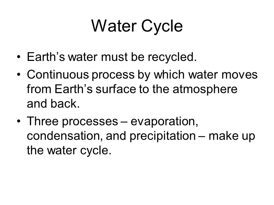 Water Cycle Earth's water must be recycled.