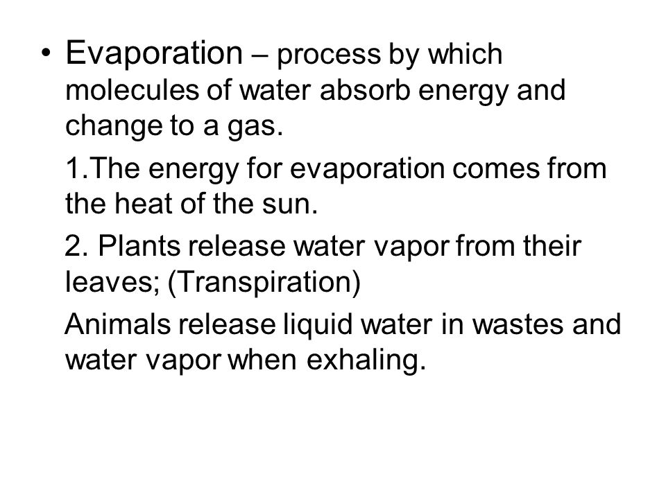 Evaporation – process by which molecules of water absorb energy and change to a gas.