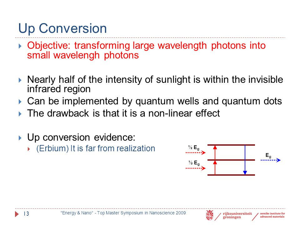Up Conversion Objective: transforming large wavelength photons into small wavelengh photons.