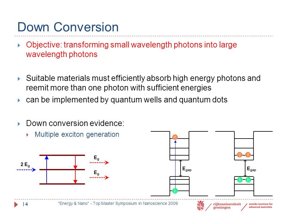Down Conversion Objective: transforming small wavelength photons into large wavelength photons.