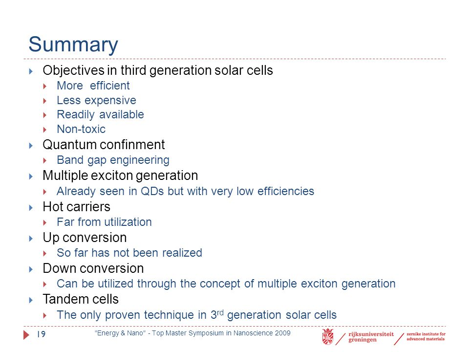 Summary Objectives in third generation solar cells Quantum confinment