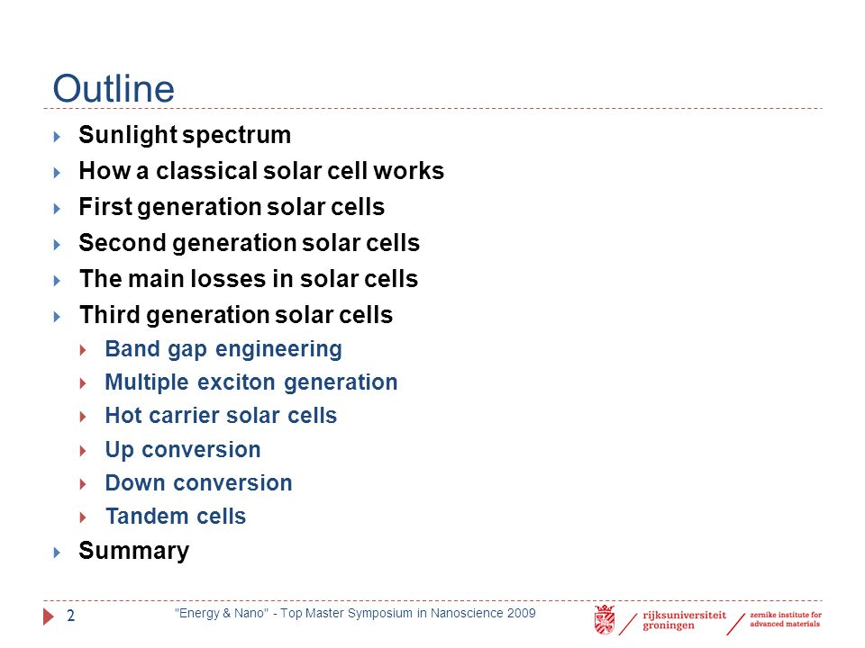 Outline Sunlight spectrum How a classical solar cell works