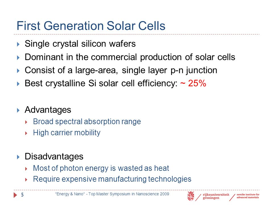 First Generation Solar Cells