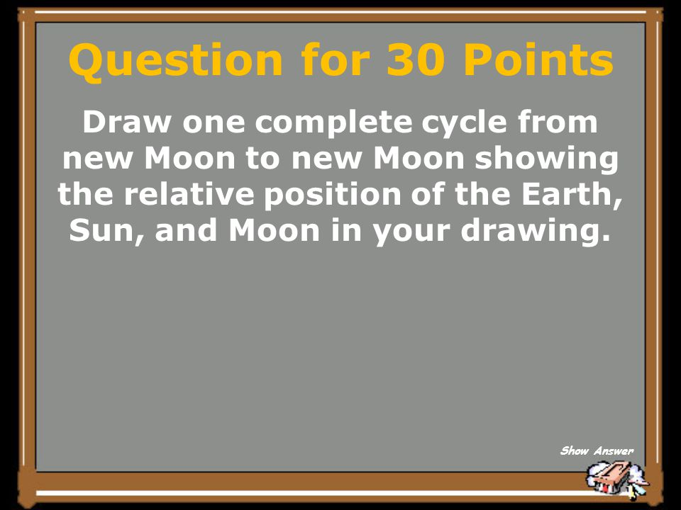 Question for 30 Points Draw one complete cycle from new Moon to new Moon showing the relative position of the Earth, Sun, and Moon in your drawing.