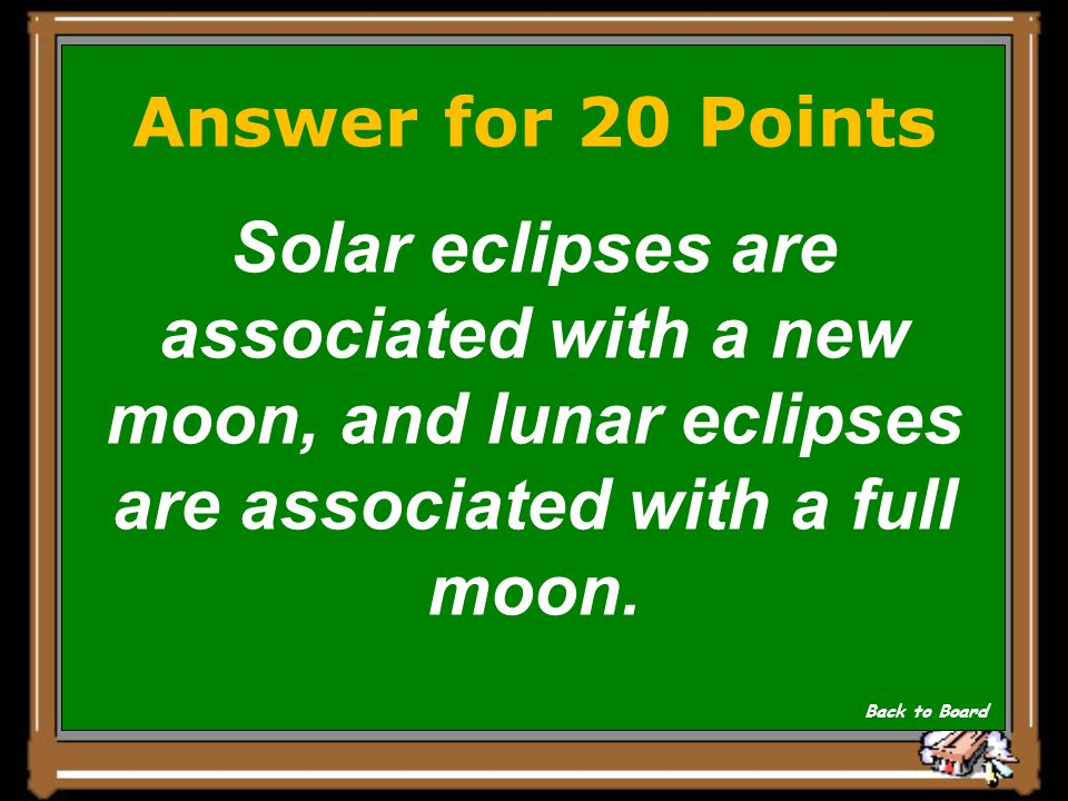 Answer for 20 Points Solar eclipses are associated with a new moon, and lunar eclipses are associated with a full moon.