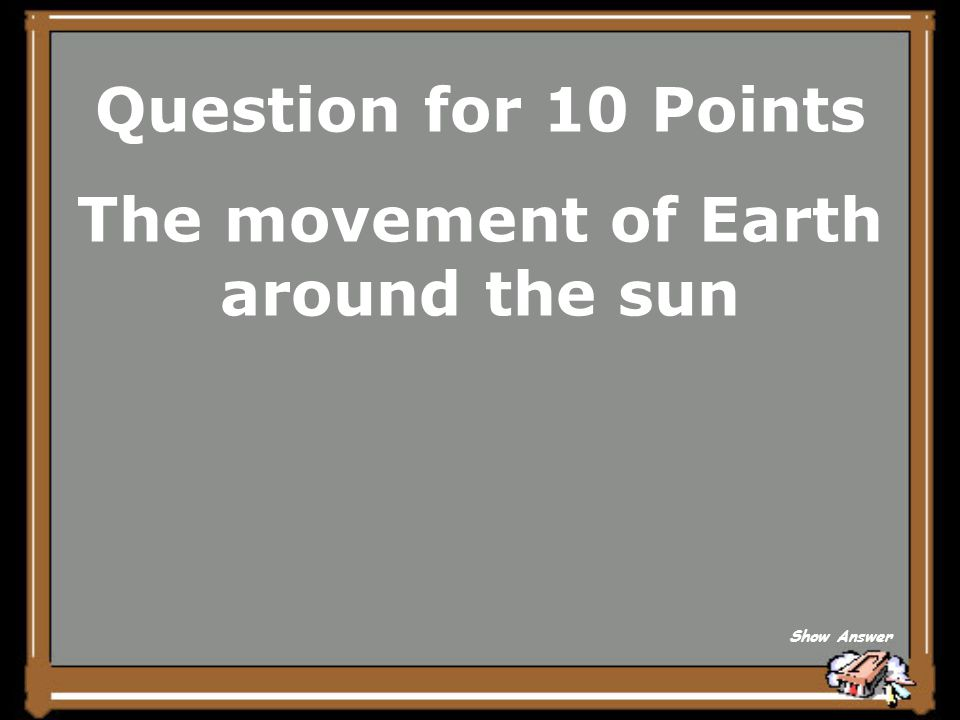 The movement of Earth around the sun