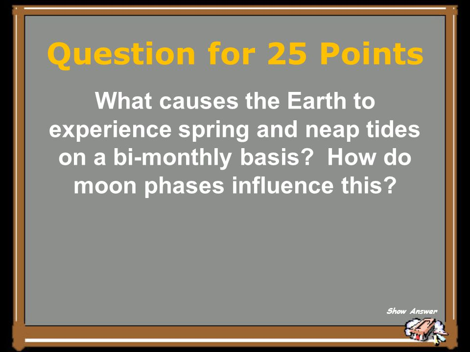 Question for 25 Points What causes the Earth to experience spring and neap tides on a bi-monthly basis How do moon phases influence this