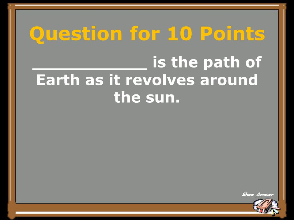 ___________ is the path of Earth as it revolves around the sun.