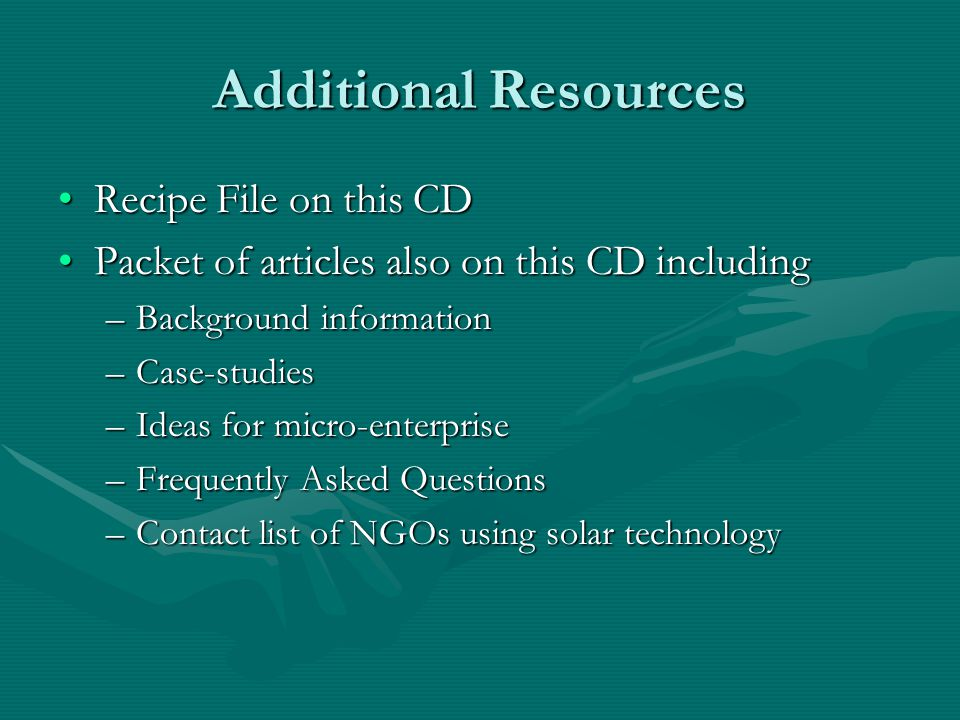 Additional Resources Recipe File on this CD