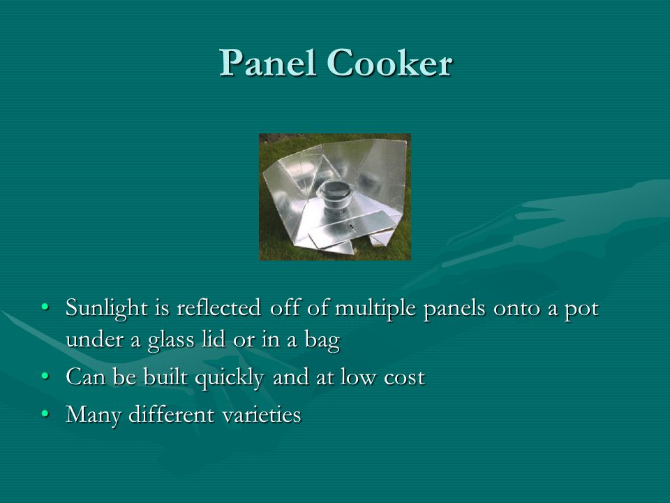 Panel Cooker Sunlight is reflected off of multiple panels onto a pot under a glass lid or in a bag.