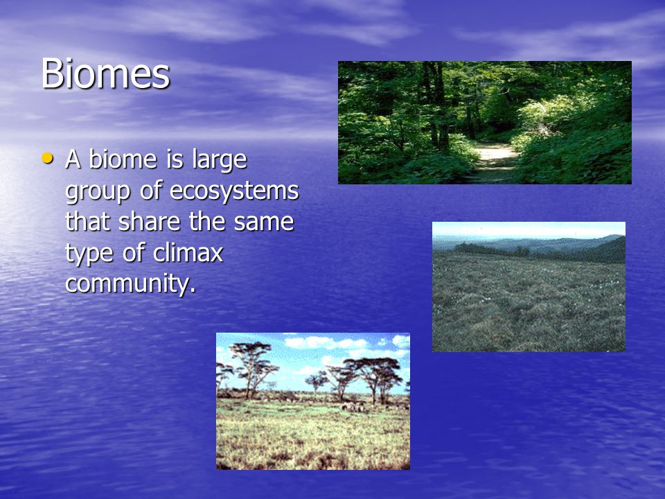 Biomes A biome is large group of ecosystems that share the same type of climax community.