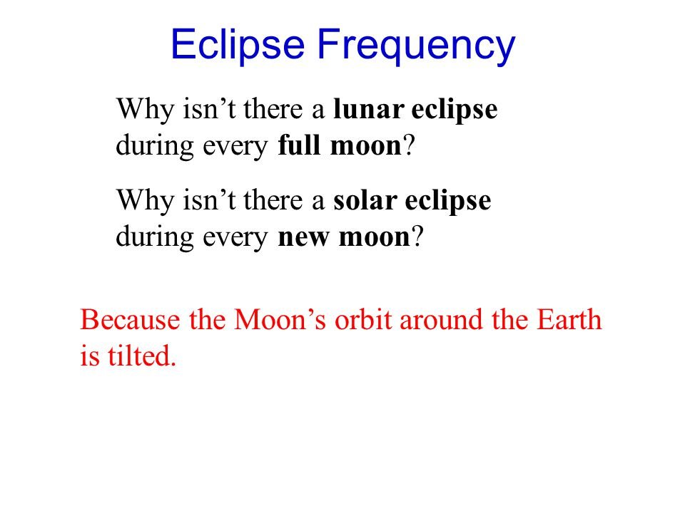 Eclipse Frequency Why isn't there a lunar eclipse during every full moon Why isn't there a solar eclipse during every new moon