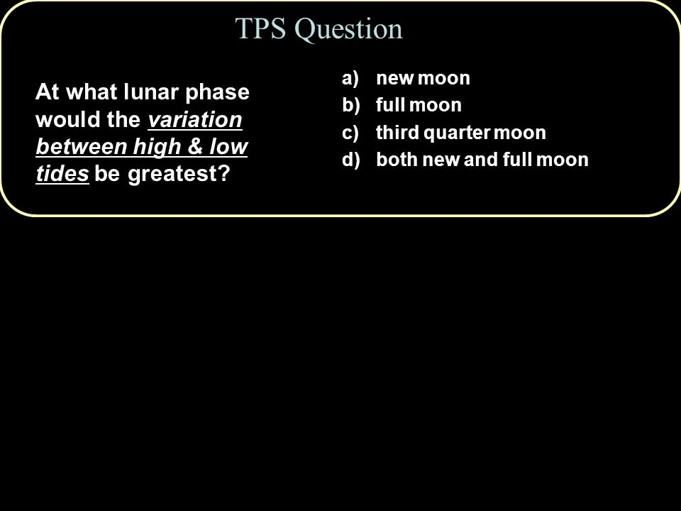 TPS Question new moon. full moon. third quarter moon. both new and full moon.
