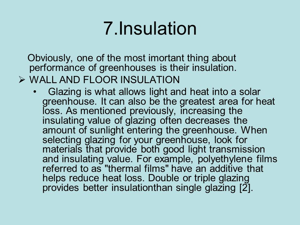 7.Insulation WALL AND FLOOR INSULATION