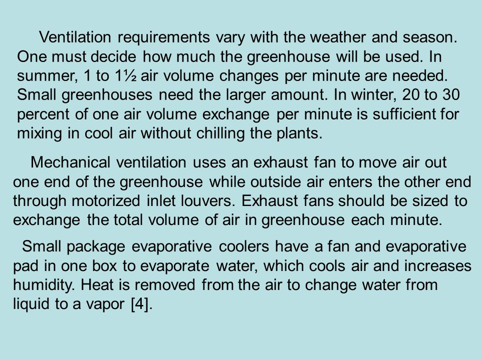 Ventilation requirements vary with the weather and season