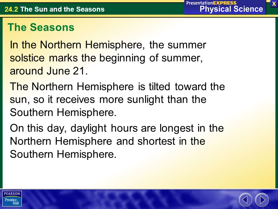 The Seasons In the Northern Hemisphere, the summer solstice marks the beginning of summer, around June 21.