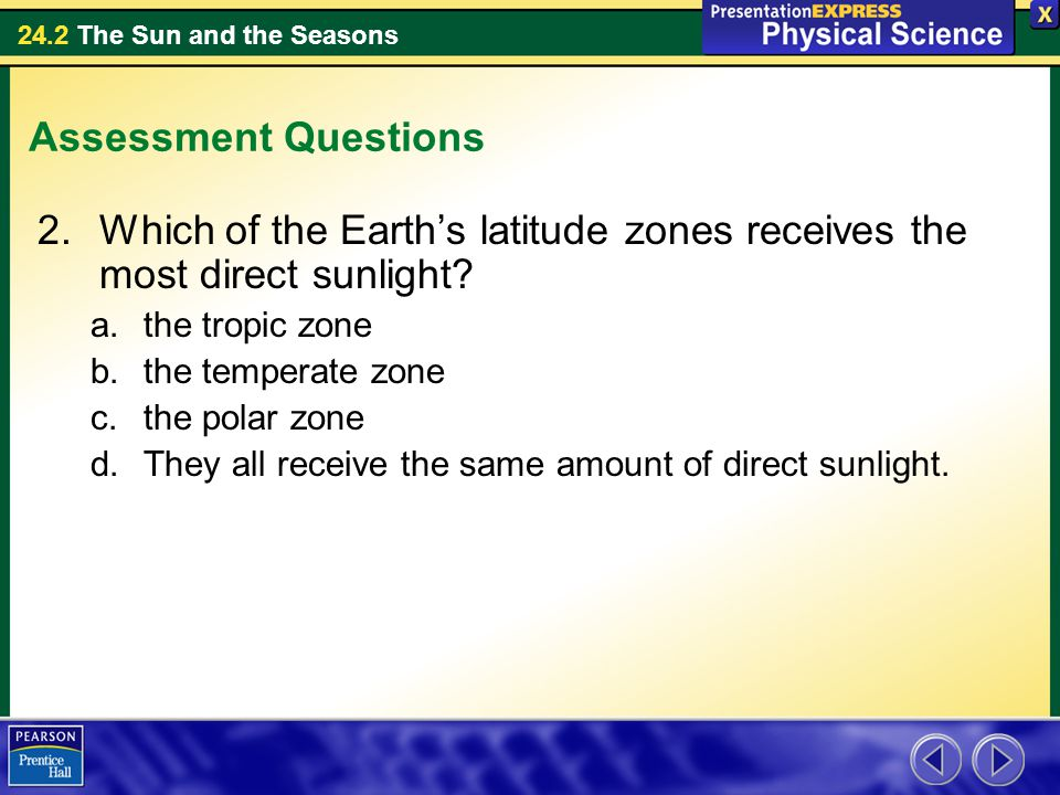 Which of the Earth's latitude zones receives the most direct sunlight