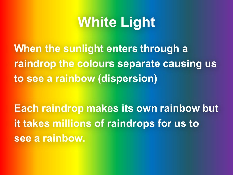 White Light When the sunlight enters through a