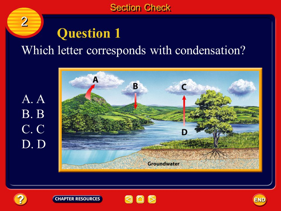 Question 1 2 Which letter corresponds with condensation A. A B. B