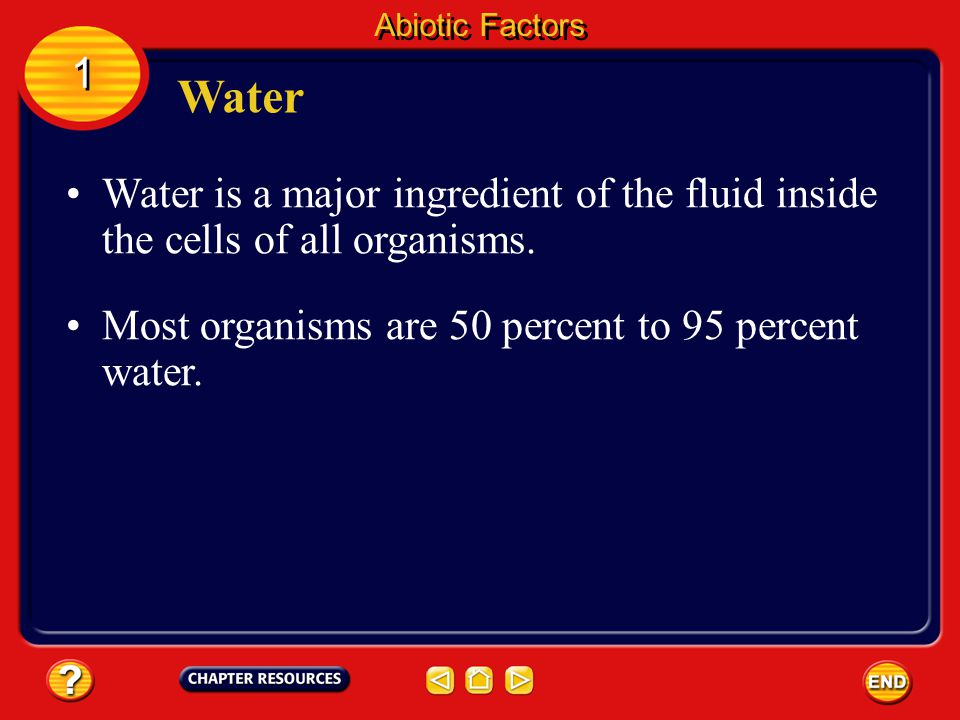 Abiotic Factors 1. Water. Water is a major ingredient of the fluid inside the cells of all organisms.