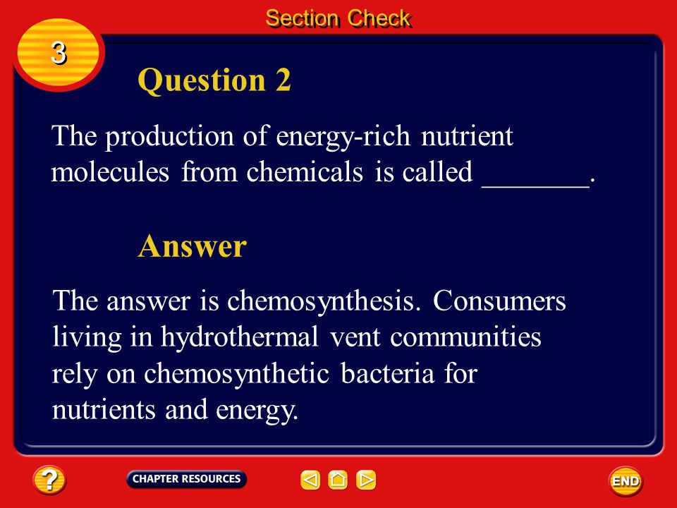 Section Check 3. Question 2. The production of energy-rich nutrient molecules from chemicals is called _______.