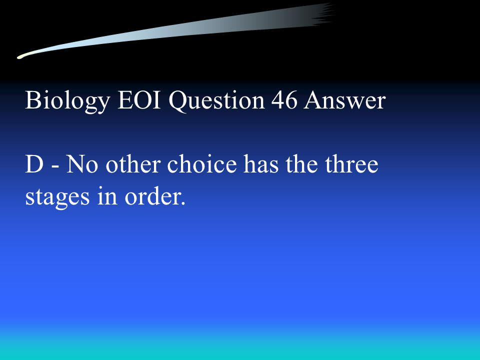 Biology EOI Question 46 Answer