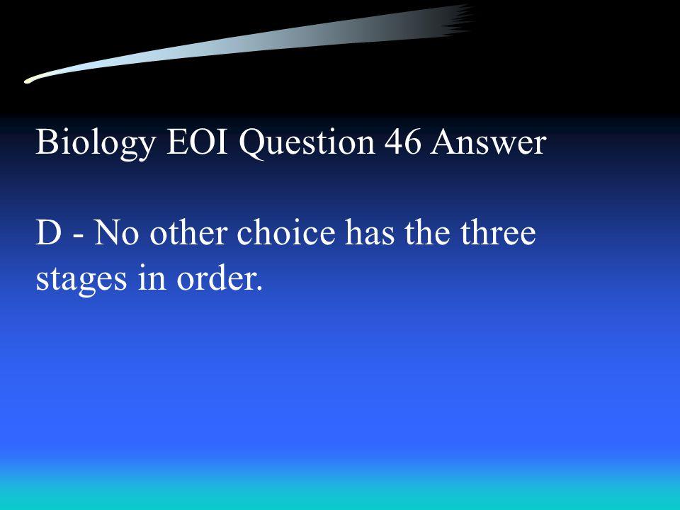 Biology EOI Question 46 Answer