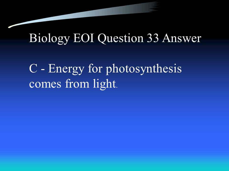 Biology EOI Question 33 Answer